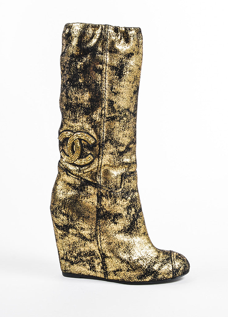 Metallic Gold and Black Chanel Suede Embellished 'CC' Wedge Calf Boots Sideview
