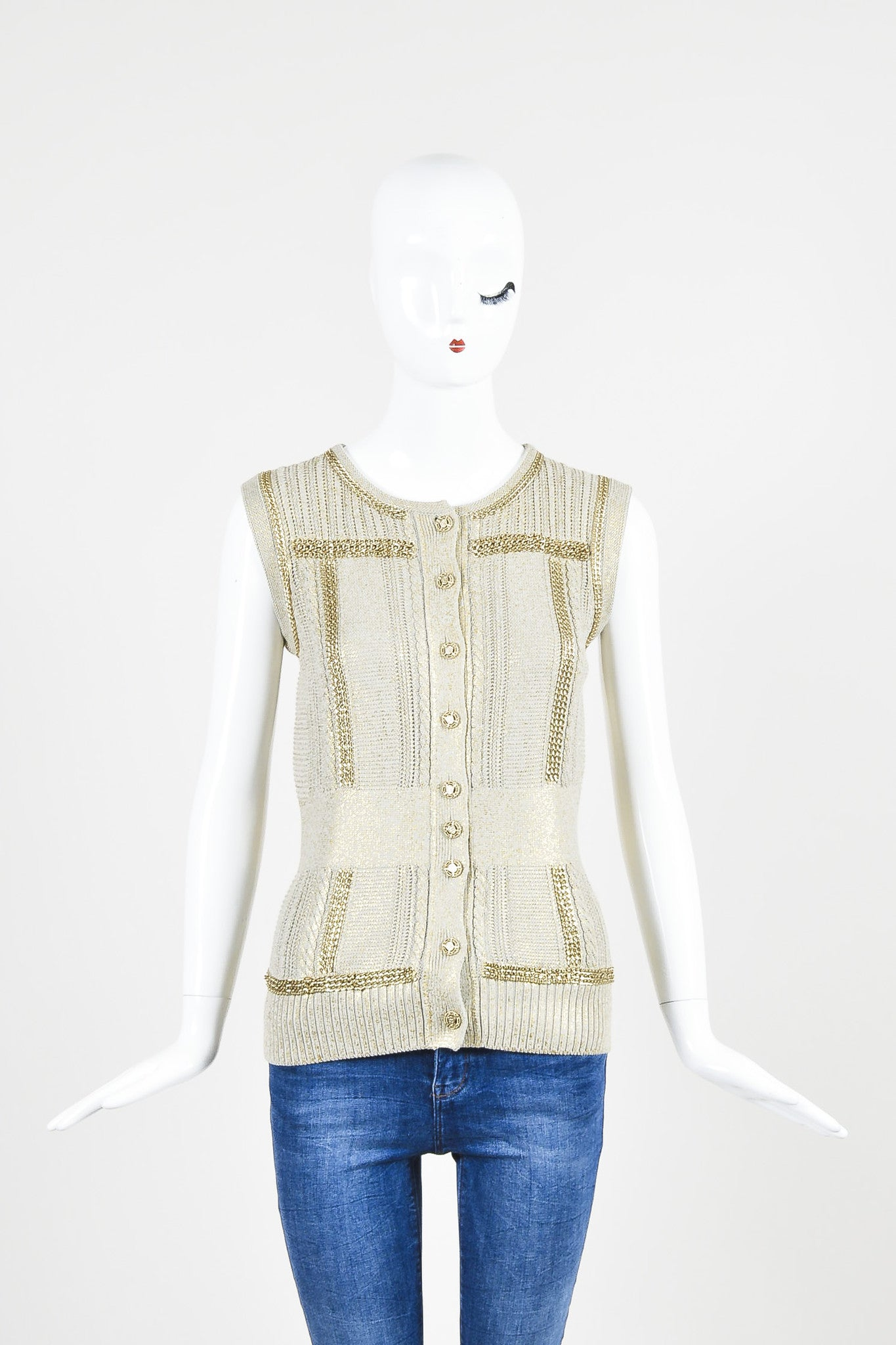 Chanel Taupe Metallic Gold Chain Trim 'CC' Shield Button Sleeveless Cardigan Vest Frontview