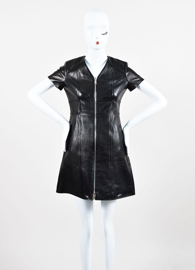 Christian Dior Black Leather Paneled Zip Up Short Sleeve Dress Frontview