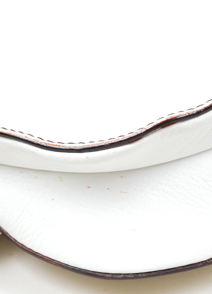 "White Christian Dior Leather Stitched ""Medium Saddle"" Shoulder Bag Detail"