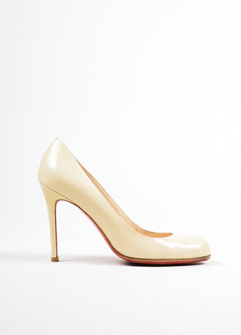 "Beige Christian Louboutin Patent Leather ""Simple 100"" Pumps Sideview"