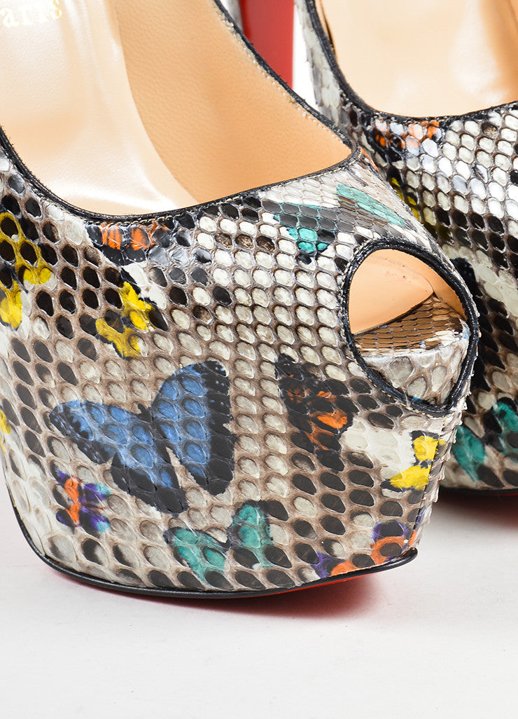 "Christian Louboutin Multicolor Snakeskin ""Highness 160"" Pumps Detail"