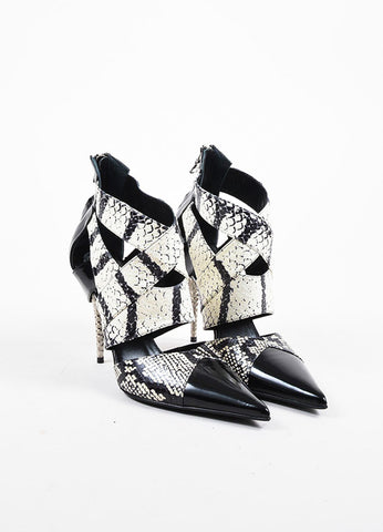 Etro Black and White Patent Leather and Python Pointed Spike Heel Pumps Frontview