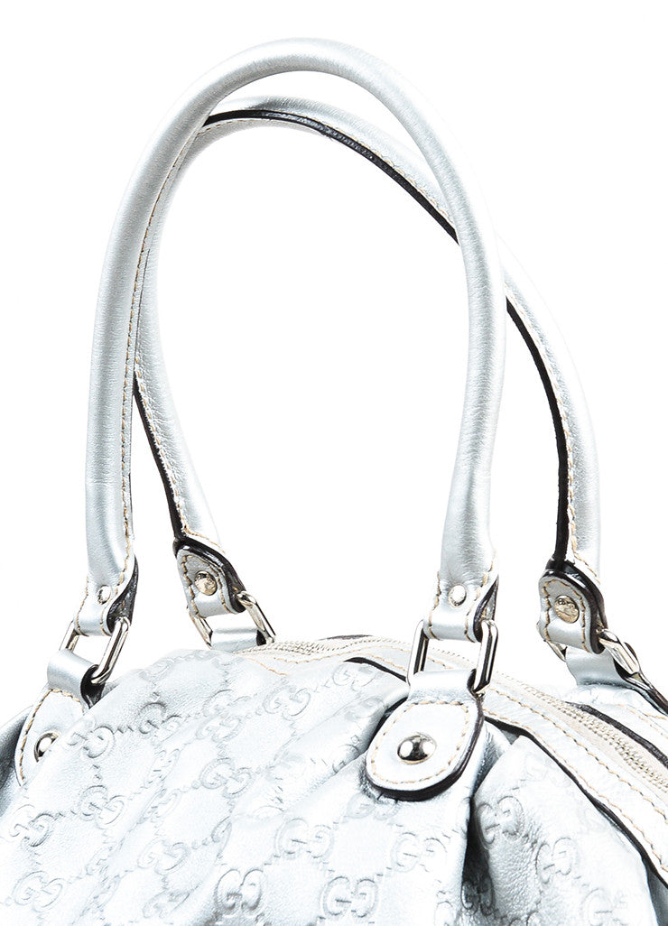 "Gucci Metallic Silver Guccissima Leather Crossbody ""Sukey Boston"" Bag Detail 2"