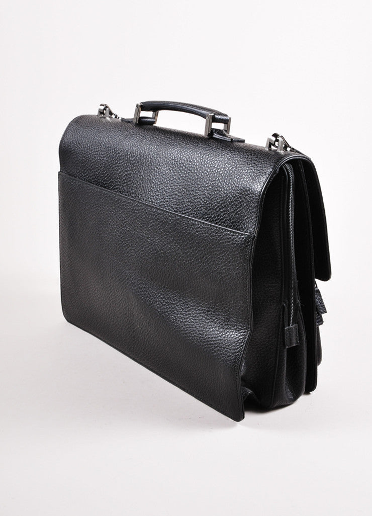 Gucci Black Grain Leather Oversized Messenger Briefcase Sideview