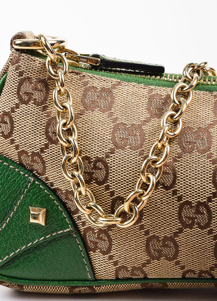 Gucci Brown and Tan Monogrammed Canvas and Green Leather Trimmed Pochette Bag Detail 2