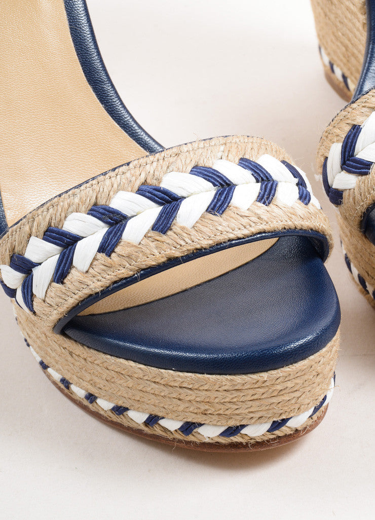 Gucci Blue and White Leather Raffia Espadrille 85mm Wedge Sandals Detail