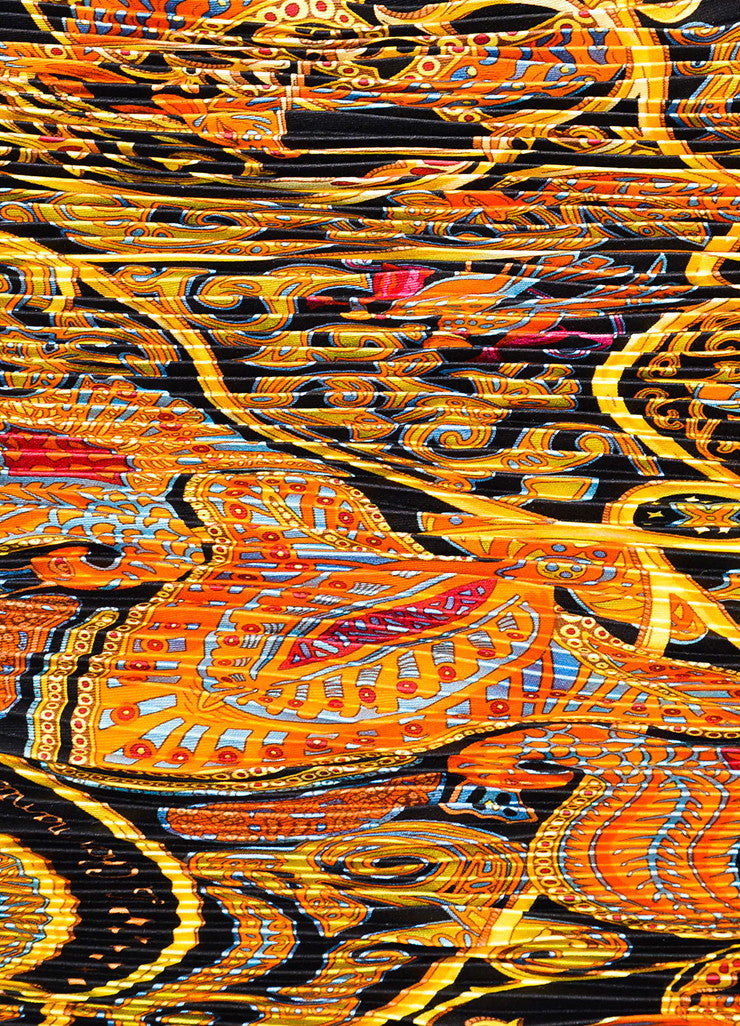 "Hermes Black, Gold, and Orange Silk Plisse Print ""La Charmante Aux Animaux"" Scarf Detail"