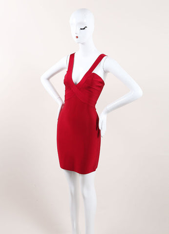 Herve Leroux New With Tags Red Sleeveless Bodycon Dress Sideview