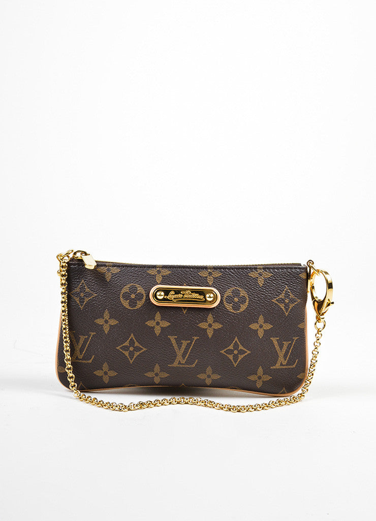 "Brown and Tan Coated Canvas Monogram ""Milla MM"" Chain Clutch Frontview"