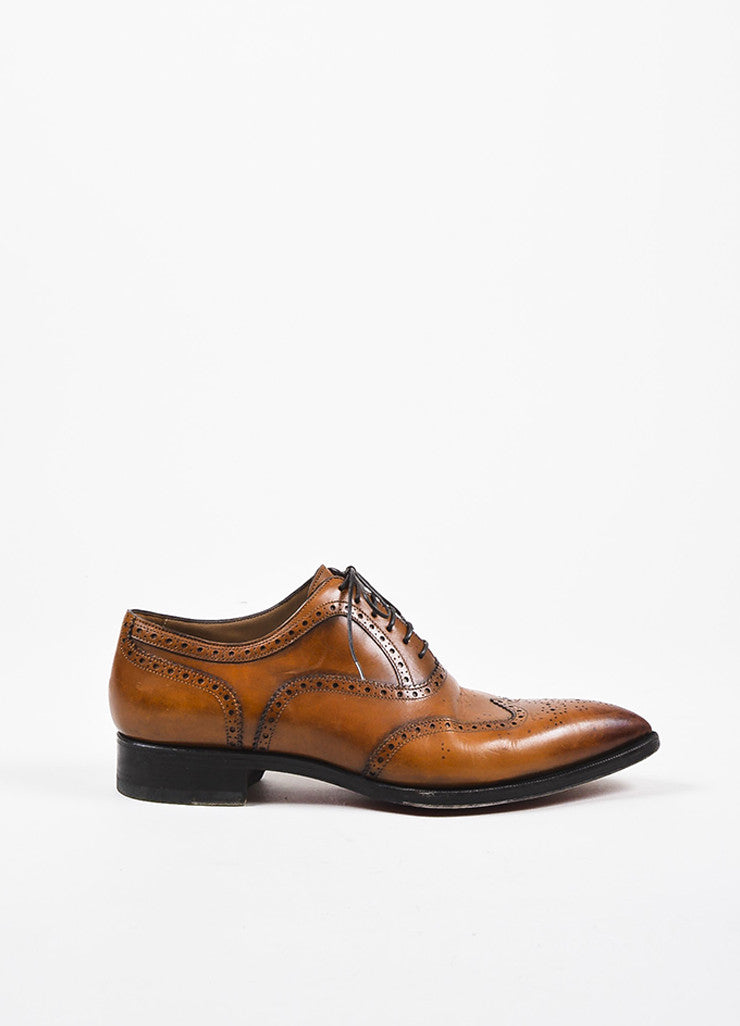 "Men's Christian Louboutin Cognac ""Platers Fiori"" Leather Oxford Shoes Sideview"