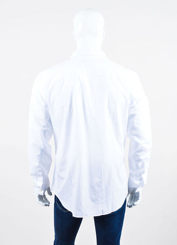 Men's Givenchy White and Silver Star Button Down Long Sleeve Shirt Backview