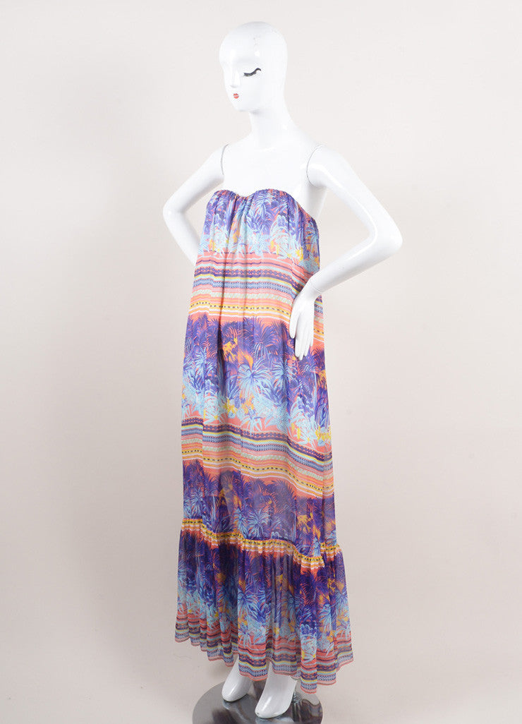 MSGM New With Tags Purple and Multicolor Silk Tropical Print Strapless Maxi Dress Sideview