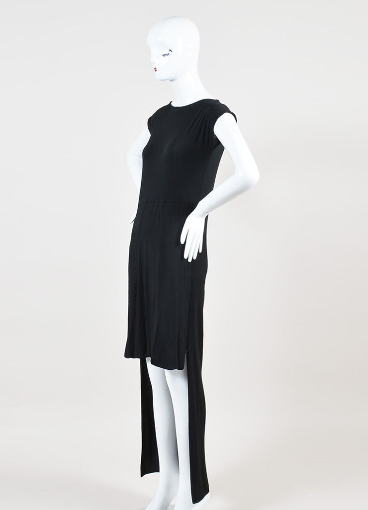 Maison Martin Margiela Black Jersey Gathered Drape High Low Short Sleeve Dress sideview