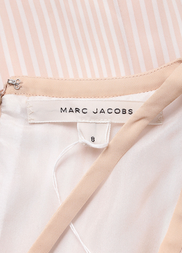 Marc Jacobs Beige and Cream Stripe Pleated and Belted Cut Out Dress Brand