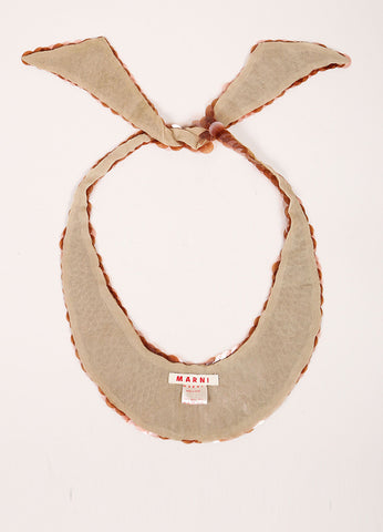 Marni Brown and Tan Sequin Embellished Silk Self Tie Bib Necklace Backview