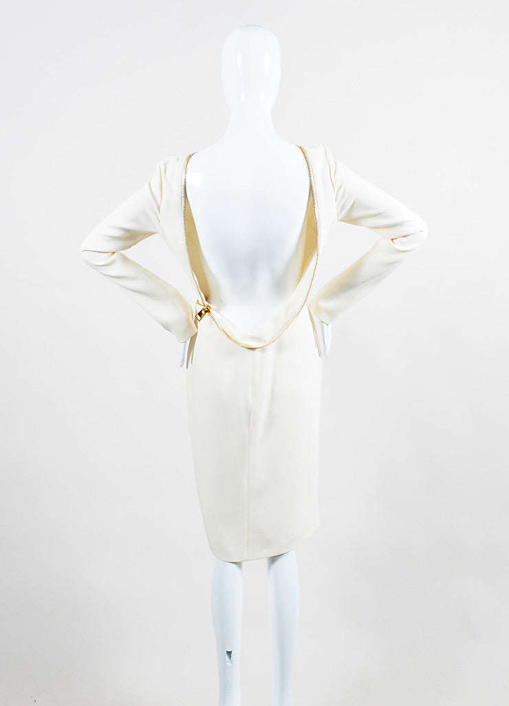 Cream Tom Ford Silk Zippered Backless Long Sleeve Cocktail Dress Backview