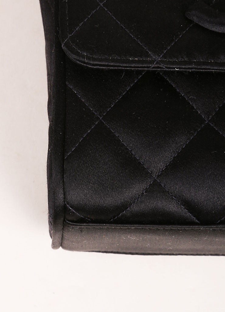 Chanel Black Satin Quilted Flap Mini Shoulder Bag Detail