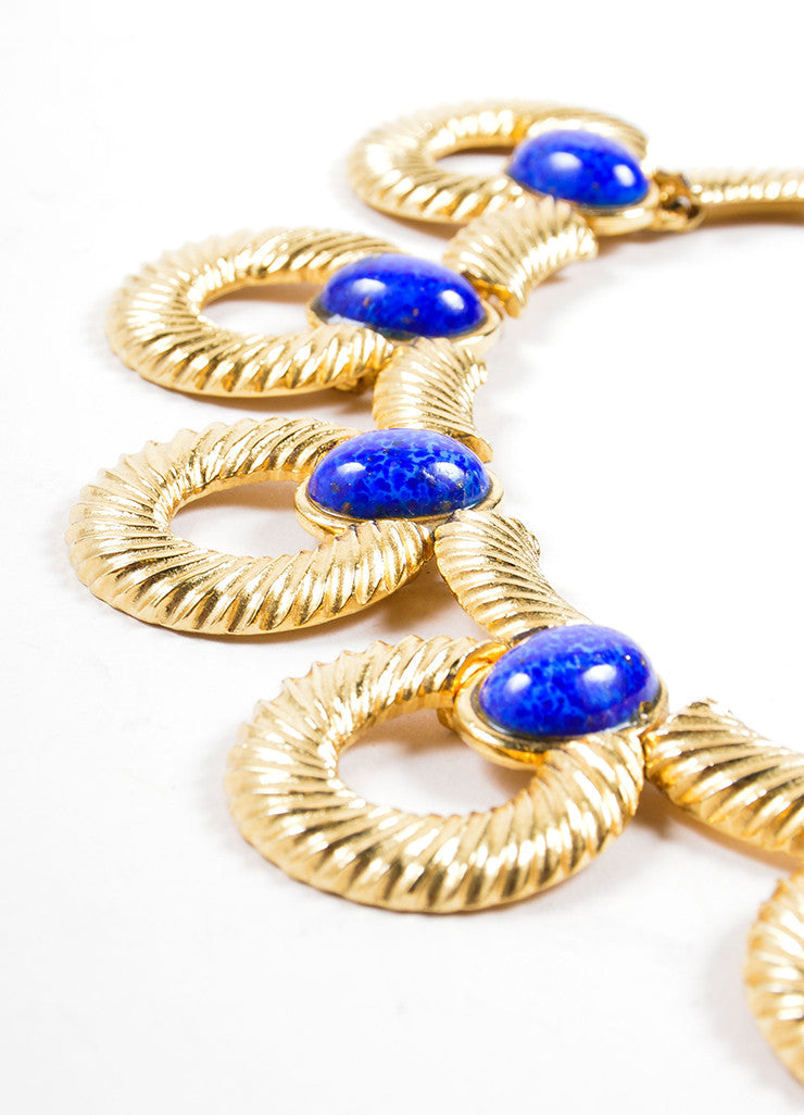 Mimi Di N Gold Toned and Blue Cabochon Stone Textured Hoop Link Necklace Detail 2