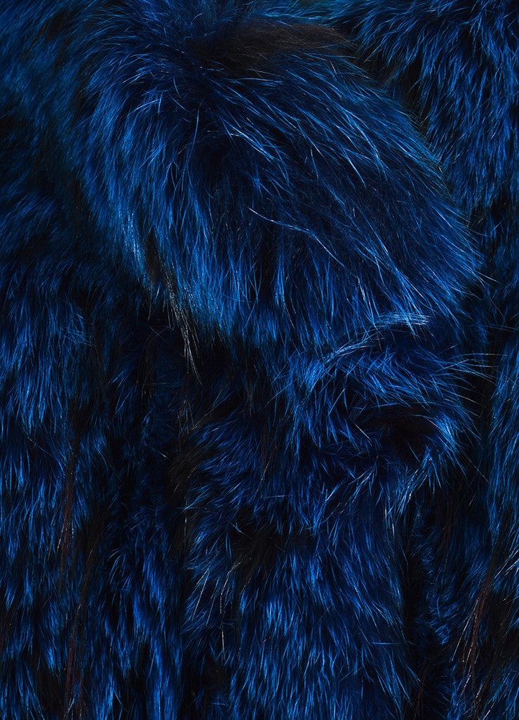 Blue and Black Neiman Marcus Zig Zag Stripe Fur Coat Detail