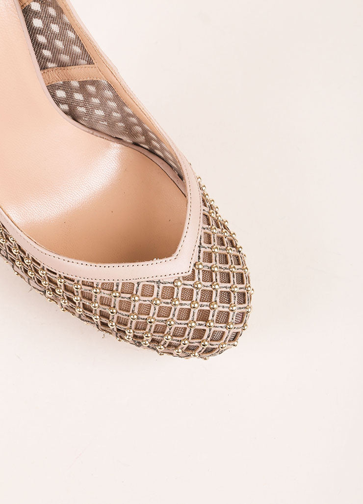 Valentino Nude and Silvery Gold Cage Mesh and Leather Slingback Pumps Detail