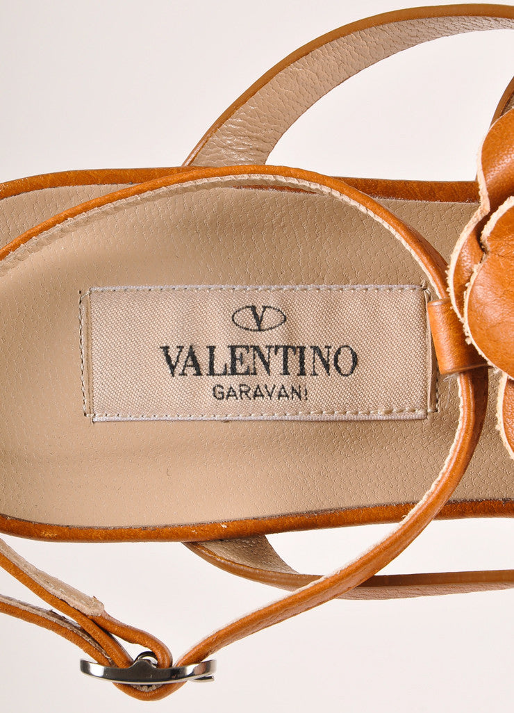 Valentino Brown Floral Applique Strappy Flat Leather Sandals Brand