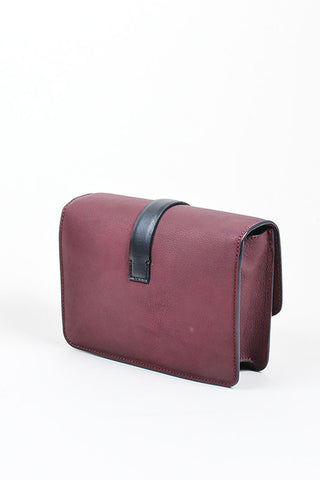 Maroon and Black Victoria Beckham Leather Mini Satchel Bag Sideview