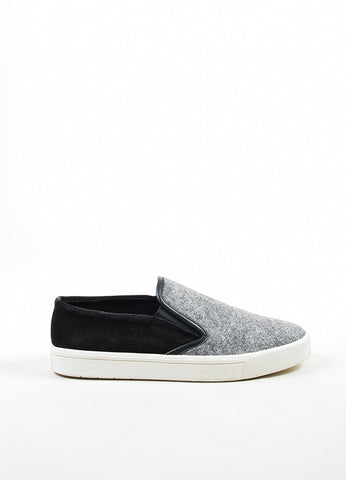 "Black, Grey, and White Vince Suede and Wool Felt ""Banler"" Skate Shoes Sideview"