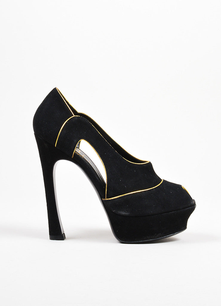 Black and Gold Yves Saint Laurent Suede Peep Toe Cut Out Platform Heels Sideview