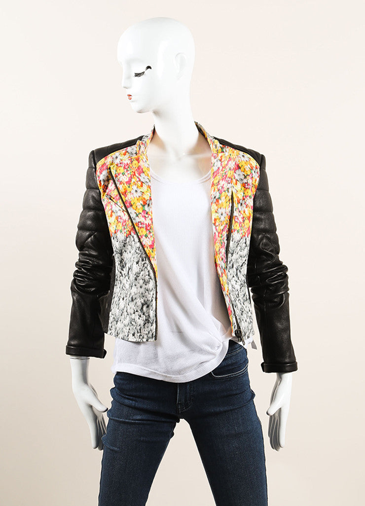 Yigal Azrouel Black and Multicolor Floral Print Quilted Leather Moto Jacket Frontview