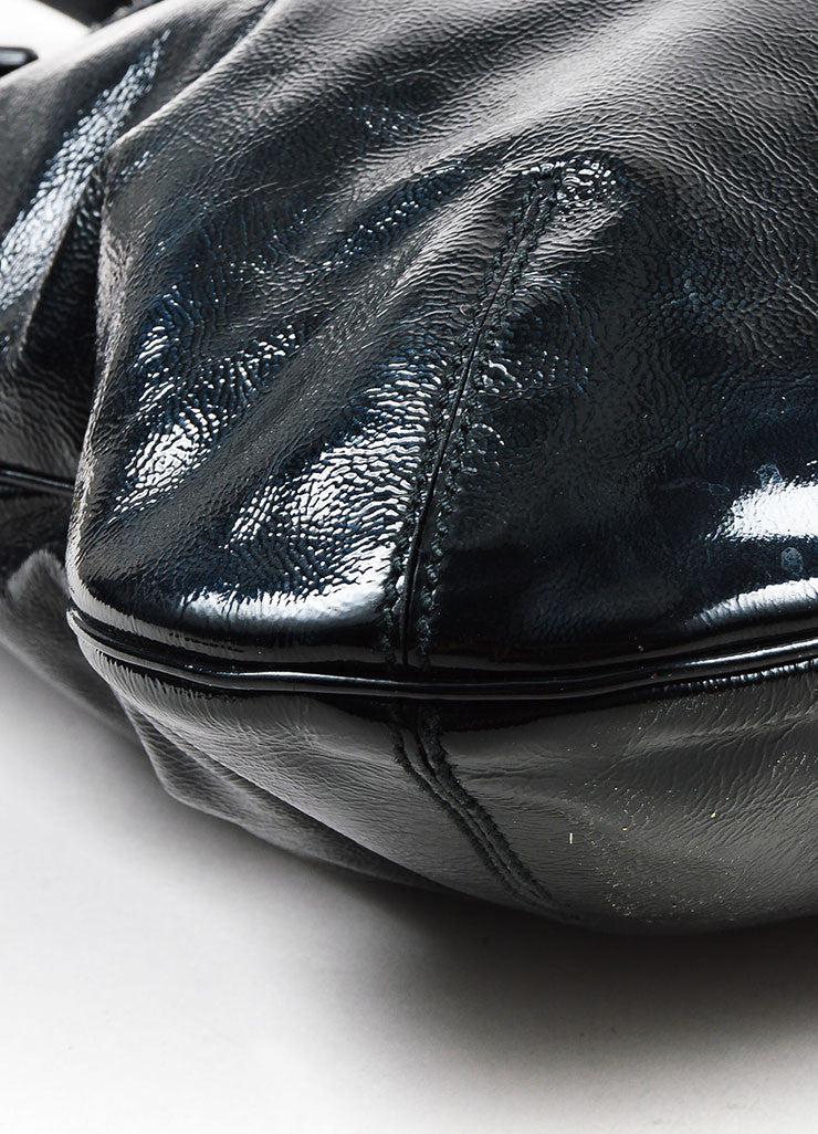 "Yves Saint Laurent Black Patent Leather ""Tribute"" Tote Bag Detail"