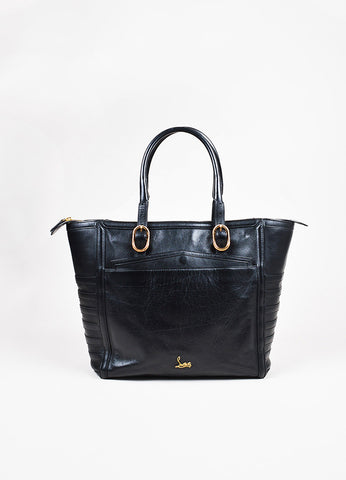 "Christian Louboutin Black Leather Rib Paneled ""Farida"" Shoulder Tote Bag front"