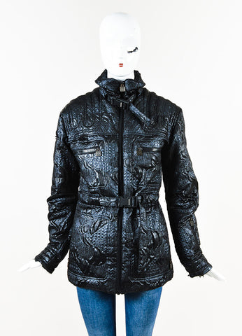Chanel Black Textured Multi Pocket Three Prong Belted Puffer Coat Front