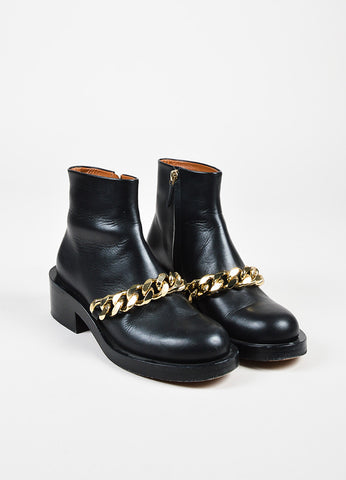 "Givenchy ""Laura"" $1395 Black GHW Leather Chain Booties Frontview"