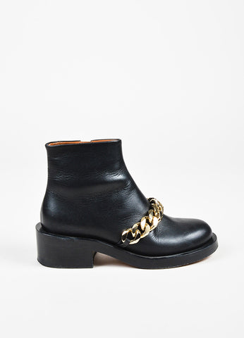 "Givenchy ""Laura"" $1395 Black GHW Leather Chain Booties Sideview"