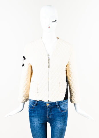 "Chanel Cream Black Quilted Wool ""CC"" Boxy Zip Jacket Front"
