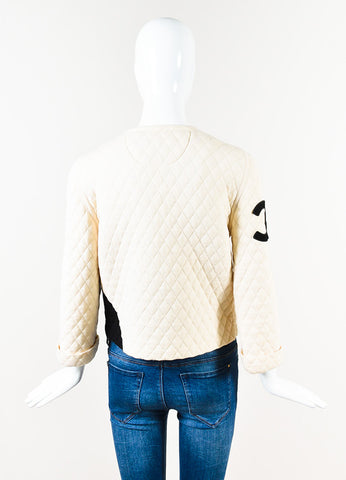 "Chanel Cream Black Quilted Wool ""CC"" Boxy Zip Jacket Back"