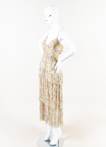 Chanel Yellow Pink Blue Circle Silk Spaghetti Strap Ruffle Dress Side
