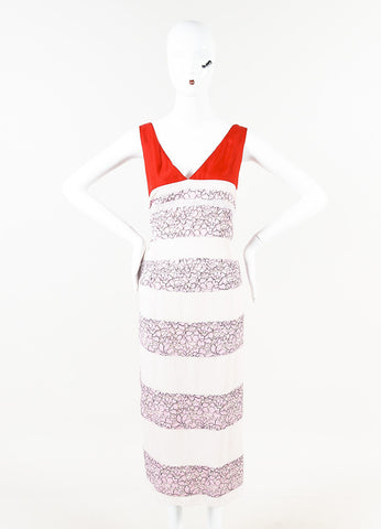 Christian Dior Pink Red Beige Lace Striped Sleeveless Dress Front
