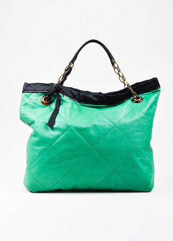 "Lanvin Green Leather Quilted Black Satin Trim ""Amalia Cabas"" Tote Bag Front"