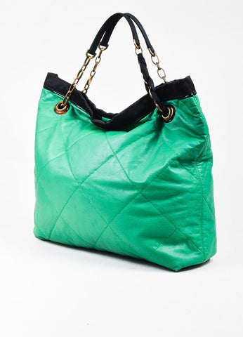 "Lanvin Green Leather Quilted Black Satin Trim ""Amalia Cabas"" Tote Bag Back"