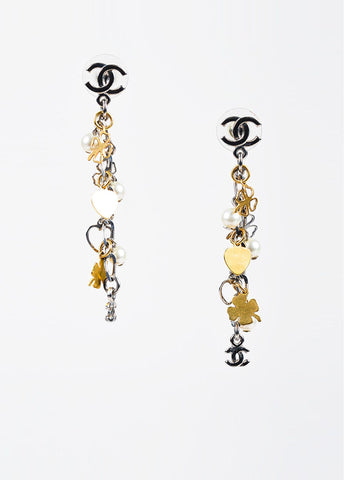 Chanel Silver and Gold Toned Faux Pearl Clover Heart Charm 'CC' Dangle Earrings Frontview