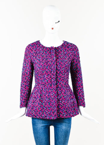 Giorgio Armani Magenta Navy Tweed Long Sleeve Collarless Peplum Jacket Front