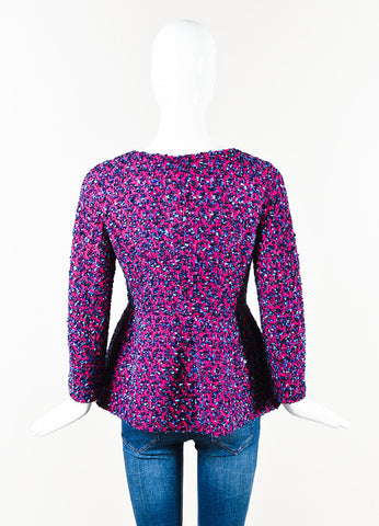 Giorgio Armani Magenta Navy Tweed Long Sleeve Collarless Peplum Jacket Back