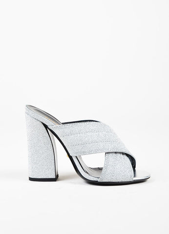 "Gucci Metallic Silver Leather Glittered ""Webby"" Mule Sandals Sideview"