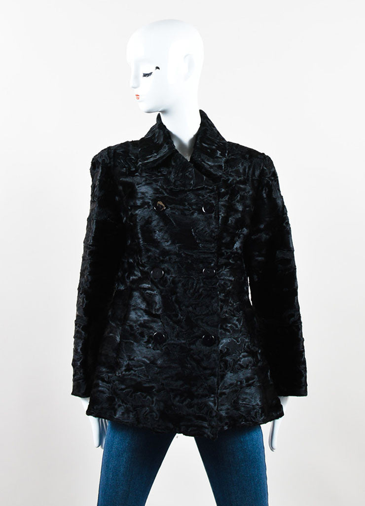 Cassin Black Lamb Fur Double Breasted Coat Front