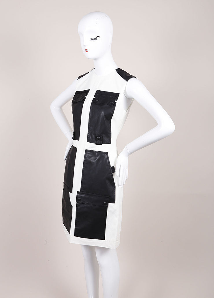 Alexander Wang New With Tags Cream and Black Webbing Detail Coated Cargo Dress Sideview