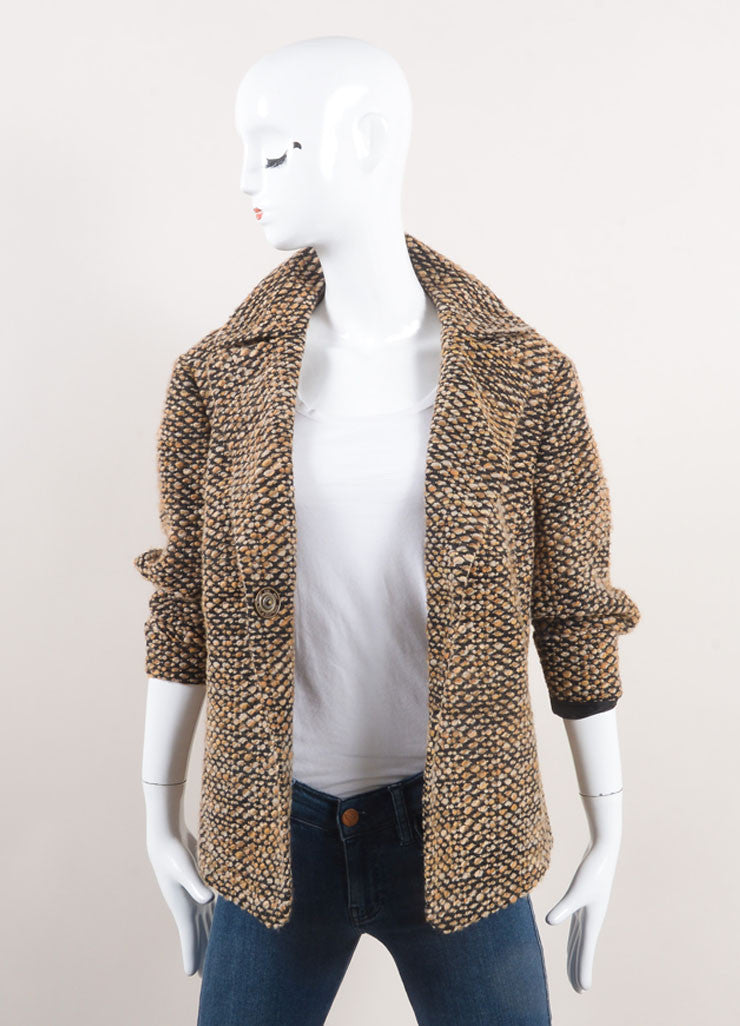 Akris Punto New With Tags Brown and Black Wool Blend Tweed Crop Sleeve Jacket Frontview