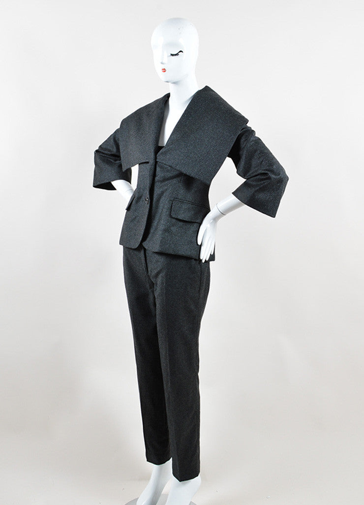 Alexander McQueen Grey Wool and Cashmere Oversized Collar Jacket Pant Suit Sideview
