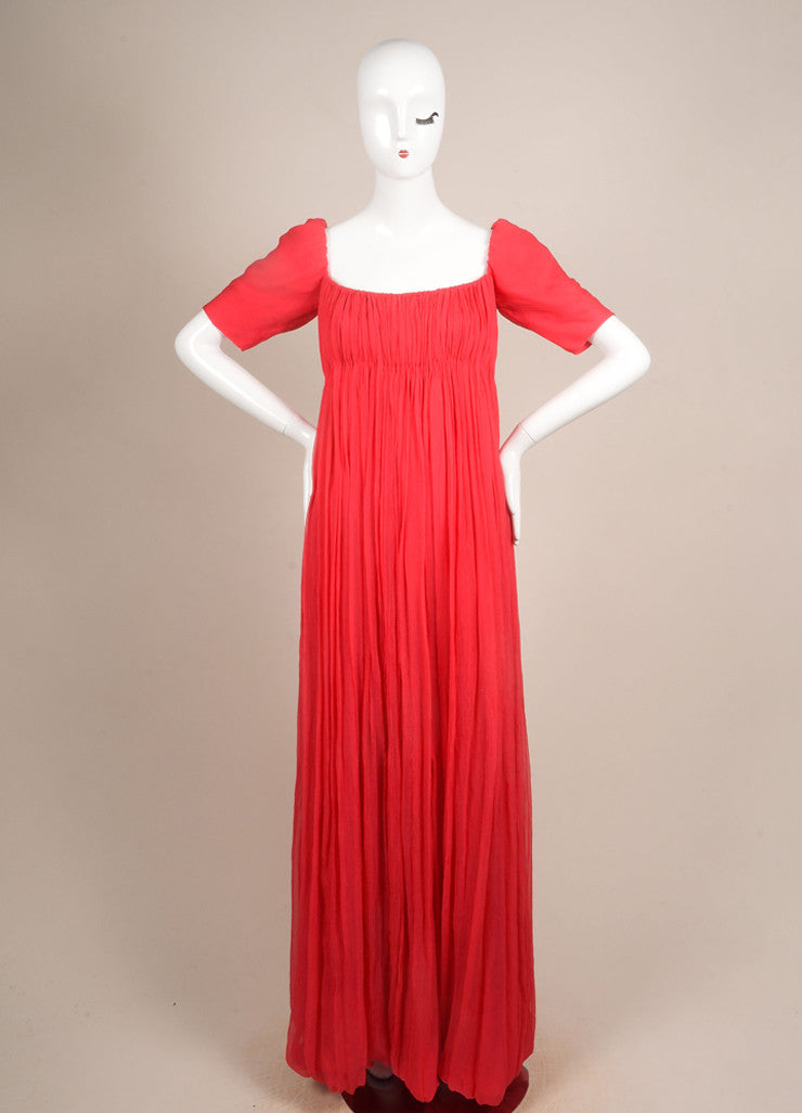 Alexander McQueen New With Tags Red Silk Short Sleeve Ruched Pleated Gown Frontview